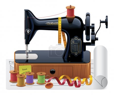 Illustration for Detailed vector tailoring icon with old black sewing machine, thread spools, ribbons - Royalty Free Image