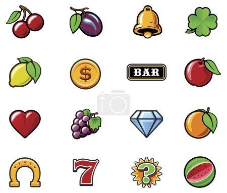 Illustration pour Ensemble des symboles typiques de machine à sous vectorielle - image libre de droit