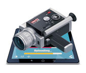 Detailed vector icon representing video uploading and sharing