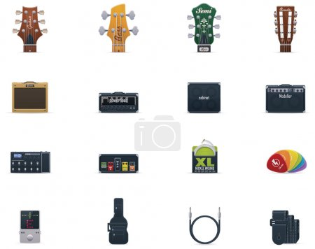 Vector guitar equipment icon set