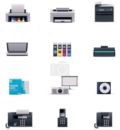 Illustration for Set of the office electronics related icons - Royalty Free Image