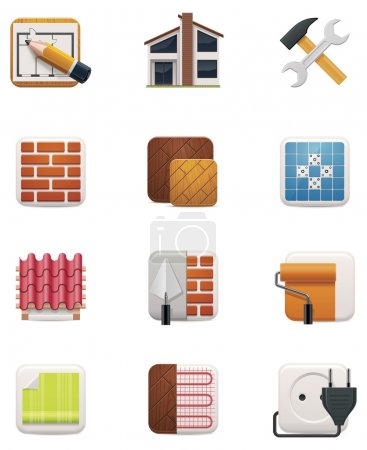 Illustration for Set of icons representing house repair and renovation - Royalty Free Image