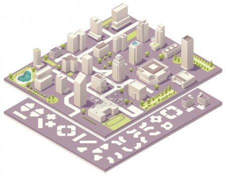 Photo for Isometric set of the simplified buildings, road elements and plants for map creation - Royalty Free Image