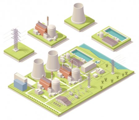 Illustration for Vector isometric map of the generic nuclear power plant - Royalty Free Image