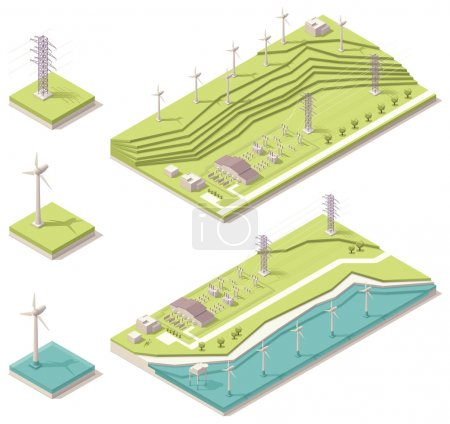 Photo pour Vector carte isométrique représentant au large des côtes et parcs éoliens - image libre de droit