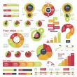 Set of the colorful charts, pie charts and other i...