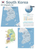 Set of the political South Korea maps markers and symbols for infographic