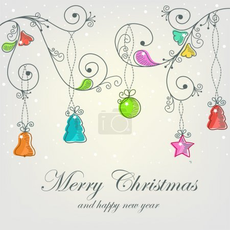 Illustration for Beautiful Christmas card with Christmas decorations - Royalty Free Image