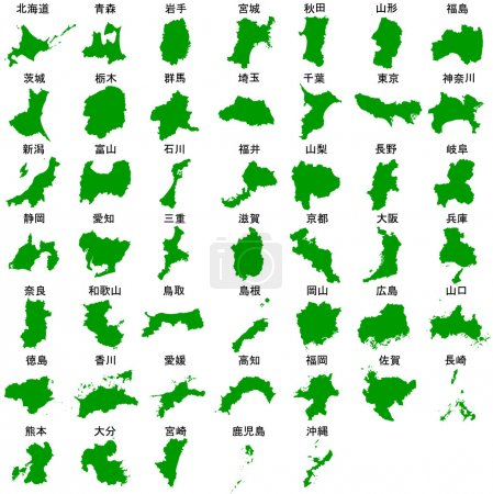 Map Japan prefectures green
