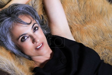 Beautiful Woman with Gray Hair