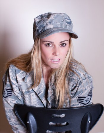 Photo for Lady of the Armed Forces looking at Camera - Royalty Free Image