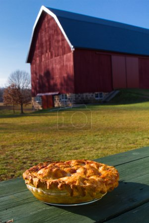 Homemade Apple Pie on a wooden picnic table
