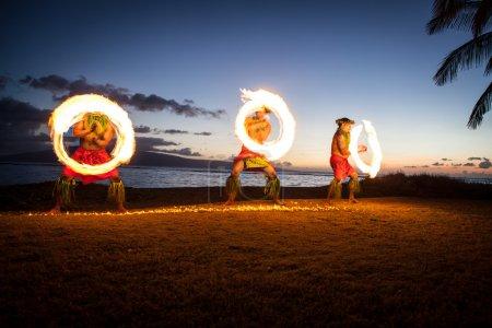 Hawaiian FIre Dancers at the Ocean