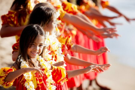 Young Hula dancer leads the troupe
