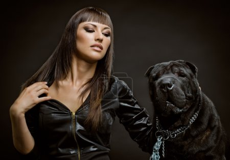 Sexy woman with dog