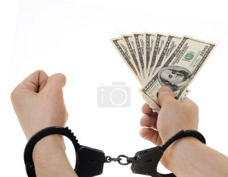 Photo pour Main dans la Manille tenir note de devise dollars, sur fond blanc, isolé - image libre de droit