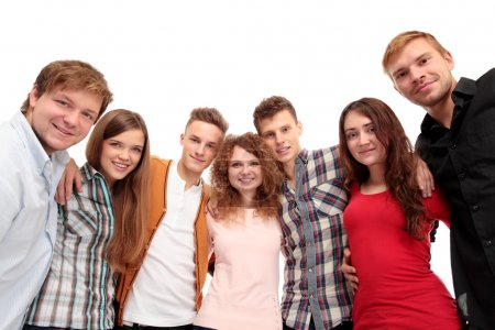 Photo pour Groupe occasionnel des amis heureux isolé sur blanc - image libre de droit