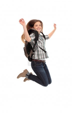 female student jumping of success