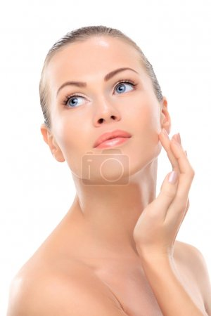 Photo for Beauty face of beautiful woman with clean fresh skin - isolated - Royalty Free Image