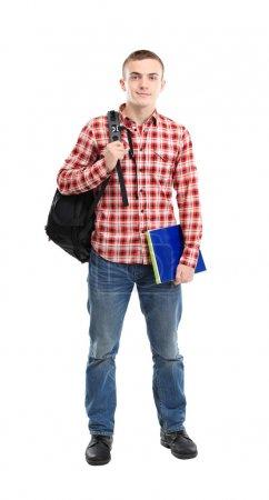 Feliz estudiante masculino sonriendo - aislado sobre un fondo blanco
