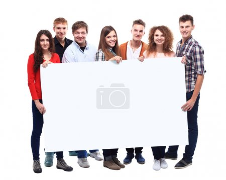 Friends holding banner