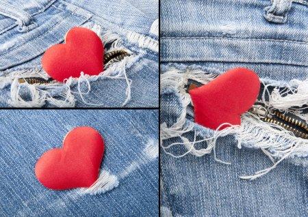 Photo pour Coeur en jeans.collage - image libre de droit