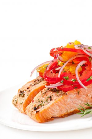 Photo for Baked salmon with a salad of sweet peppers and oranges - Royalty Free Image