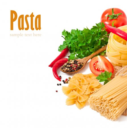 Photo for Pasta spaghetti, vegetables, spices and oil, isolated on white - Royalty Free Image