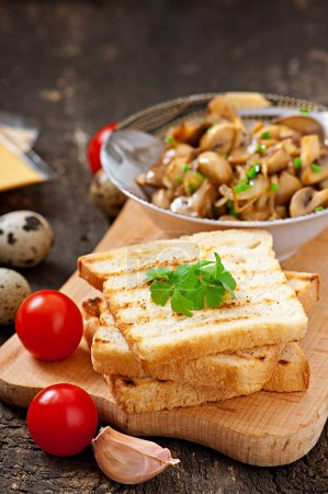 Toast sandwich with mushroom, cheese and parsley, selective focus