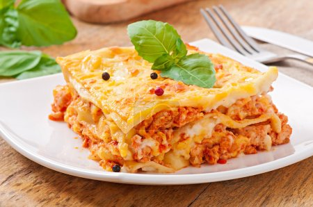 Photo for Classic Lasagna with bolognese sauce - Royalty Free Image