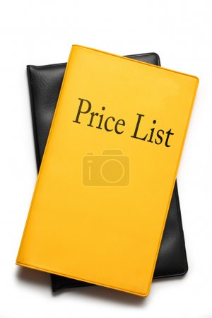 Yellow price list on white