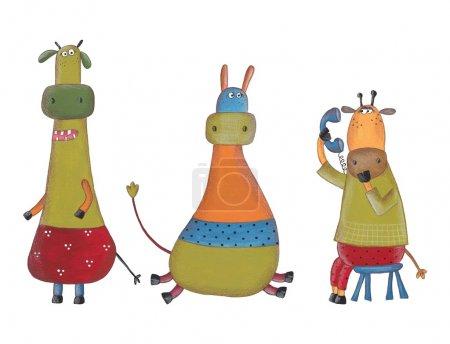 Cartoon characters. Watercolors