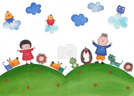 Photo for Illustration for children. Watercolors on paper - Royalty Free Image