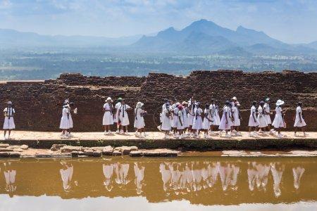 School students visiting Sigiriya complex