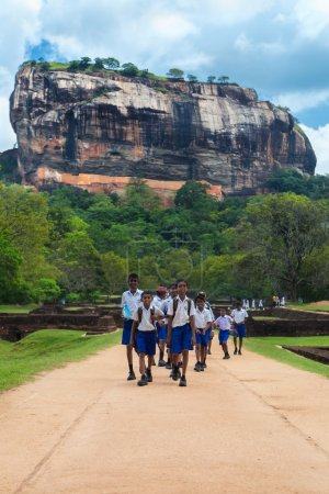 Group of school students walking