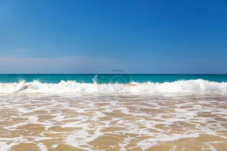 Beautiful sandy beach on sunny day