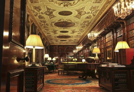 A View of the Chatsworth House Library, England