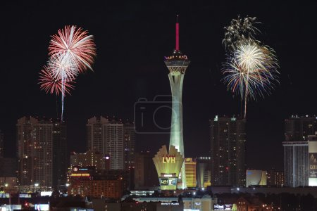 A Stratosphere Fireworks View from McCarran International Airpor