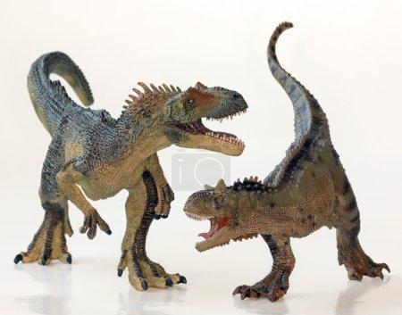 A Battle Between a Carnotaurus and an Allosaurus