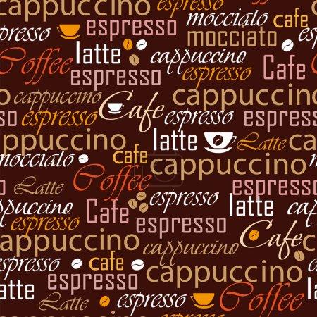Illustration pour Nom de café sans couture - image libre de droit