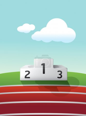 Illustration for Podium sport on grass and track running vector - Royalty Free Image