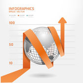 Infographic orange arrow diagram chart. Detailed / can be used f