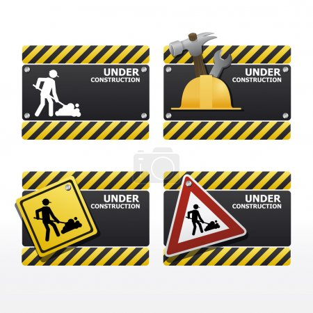 beware traffic sign under construction vector set