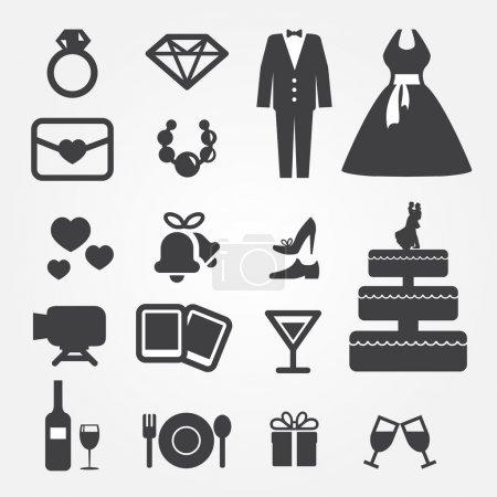 Illustration for Wedding icons - Royalty Free Image