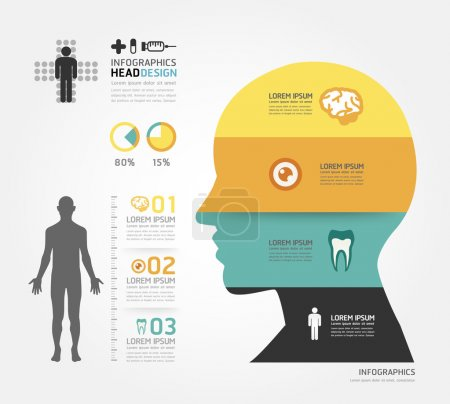 Illustration for Medical Infographic Design template, can be used for infographics, horizontal cutout lines, graphic or website layout vector - Royalty Free Image
