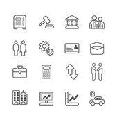 Podnikání a financí linie ikony nastavit