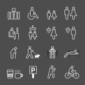 Man in park white line style Icons set Vector illustration