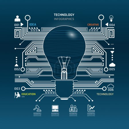Illustration for Creative light bulb abstract circuit technology infographic.vector - Royalty Free Image