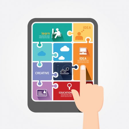 Infographic finger push tablet Template jigsaw banner