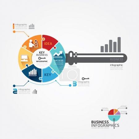 Illustration pour Modèle infographique avec bannière de jigsaw clés de l'entreprise. illustration vectorielle concept - image libre de droit